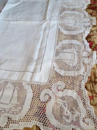 Antique Victorian Lace & Linen Table Tea Cloth-Crochet Anchor Sailboat Nautical