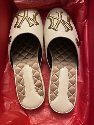 Gucci NY Yankees Beige Loafers/slippers Womens 8B New In Box $950 Retail