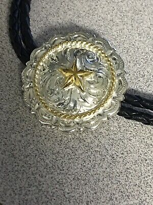 BOLO TIE Mens SILVER ENGRAVED GOLD STAR AND ROPE TEXAS Bolotie NEW 1.5