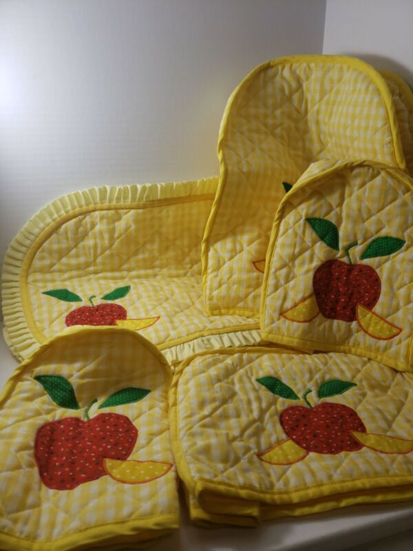 Vintage Yellow Checked Apples Kitchen Appliance Covers & Placemats Set