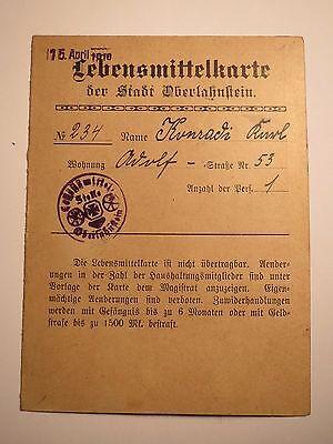 Lebensmittelkarte der Stadt Oberlahnstein - 1919