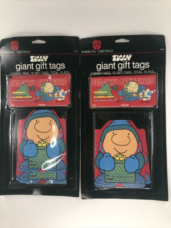 2x VINTAGE American Greetings ZIGGY Christmas Giant Gift Tags 15 Per Package