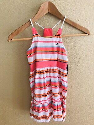 Nautica Girls Kids Size 4 Pink Striped Cotton Sleeveless Sun Dress