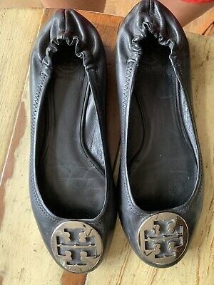 TORY BURCH LADIES BLACK LEATHER REVA BALLET FLATS SLIPPERS SHOES SIZE 9 M
