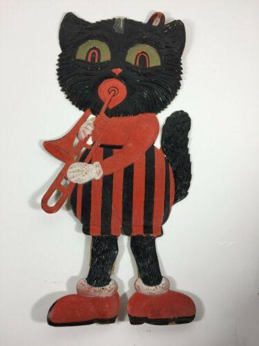 """VINTAGE GERMANY Halloween CAT WITH TROMBONE 15"""" DIE CUT HEAVY EMBOSSING"""