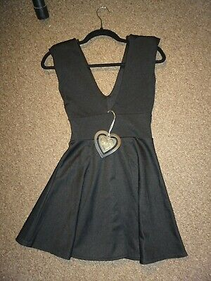New Low Cut Black Sexy Party Skater Dress Goth Emo Witch Steampunk Halloween UK6