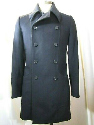 LES HOMMES Double Breasted Pea Wool Coat Size 46