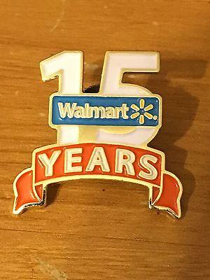 Rare Walmart Lapel Pin 15 Years Of Service Wal-mart Pinback
