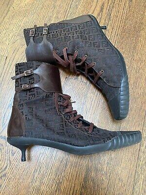 Fendi Women Zucca FF Logo Brown Canvas Ankle Boots Size 40 10
