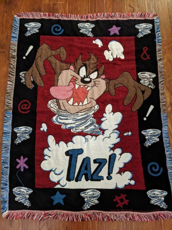 Vtg Tasmanian Devil Woven Tapestry Throw Blanket Warner Bros 1998 TAZ!