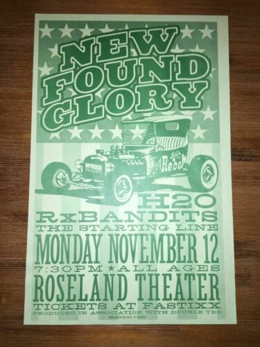 New Found Glory H2O Concert Poster Flyer 11/12/01 Roseland Theater Portland OR