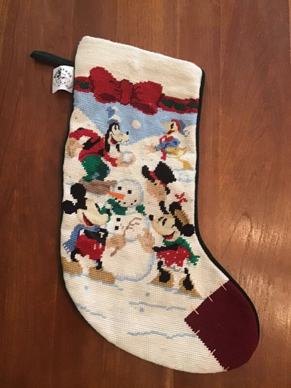 MICKEY MOUSE Co NEEDLEPOINT CHRISTMAS STOCKING~Minnie*Goofy*Donald Duck*Midwest