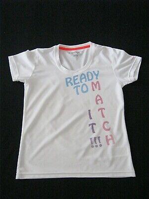 TECNO PRO Dry Plus Tennis Shirt Mädchen weiß Aufdruck: Ready to match it Gr. 152 - Mädchen Tennis Shirt