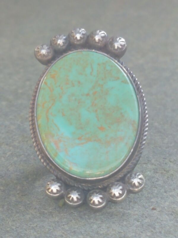 Vintage HARRY MORGAN Navajo large stone turquoise/sterling silver ring; sz 7