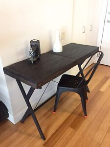 AUTHENTIC VINTAGE BARN BEAM OFFICE DESK / MODERN STEEL BASE