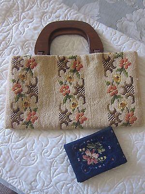 Antique vintage needlepoint purse w/wood handles and Jolles Originals wallet
