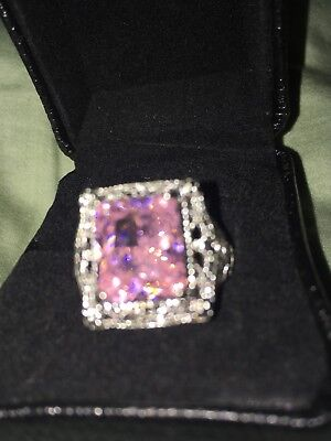 10 Square Pink Czs Ring (Large Square Pink CZ Ring w cable & Lace detail size 10 )