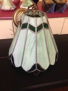 """Vintage Stained Glass Chandelier. 12"""" Dia, 10.5""""H."""