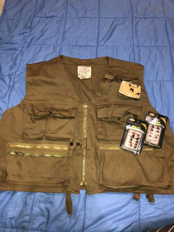 Vintage Orvis Olive Khaki Cotton Fly Fishing Vest Sz XL