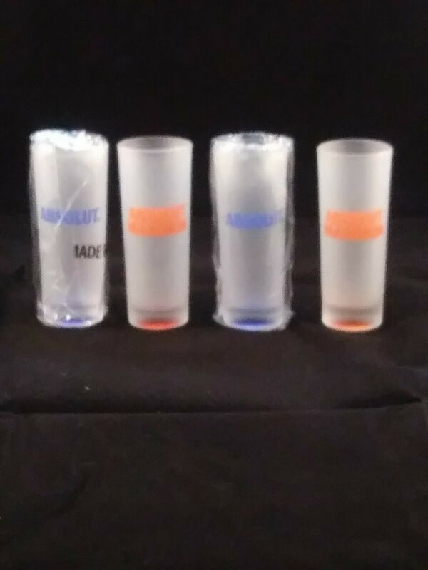 Absolut Frosted Double Shot Glasses Lot of 4