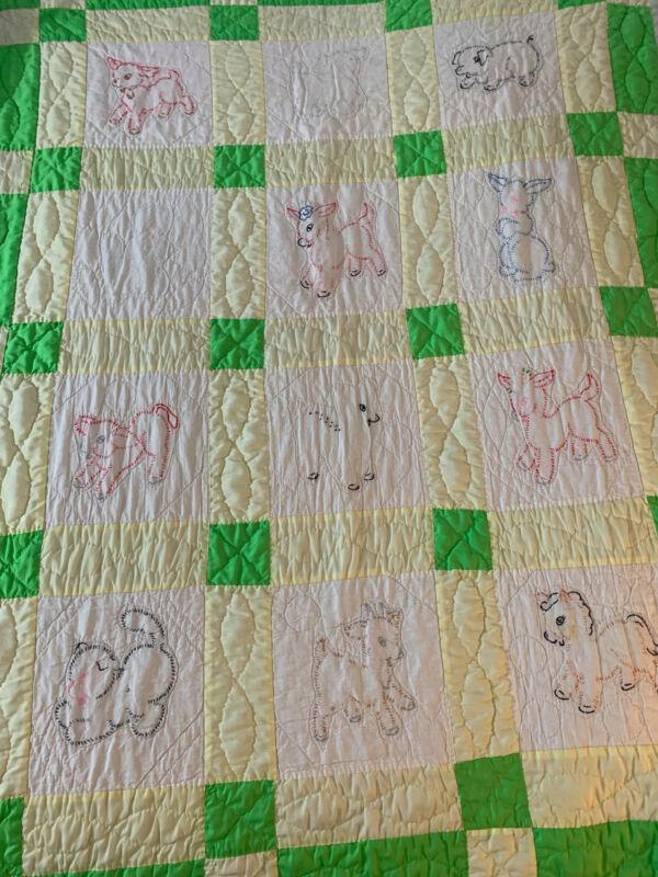 VIntage cotton hand embroidered Farm Animals crib quilt 42 x 54