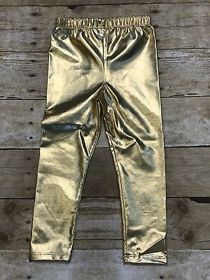 Girls Gold Leggings Pants Size 3-4 New boutique Style Toddler Shiny](Girls Gold Pants)