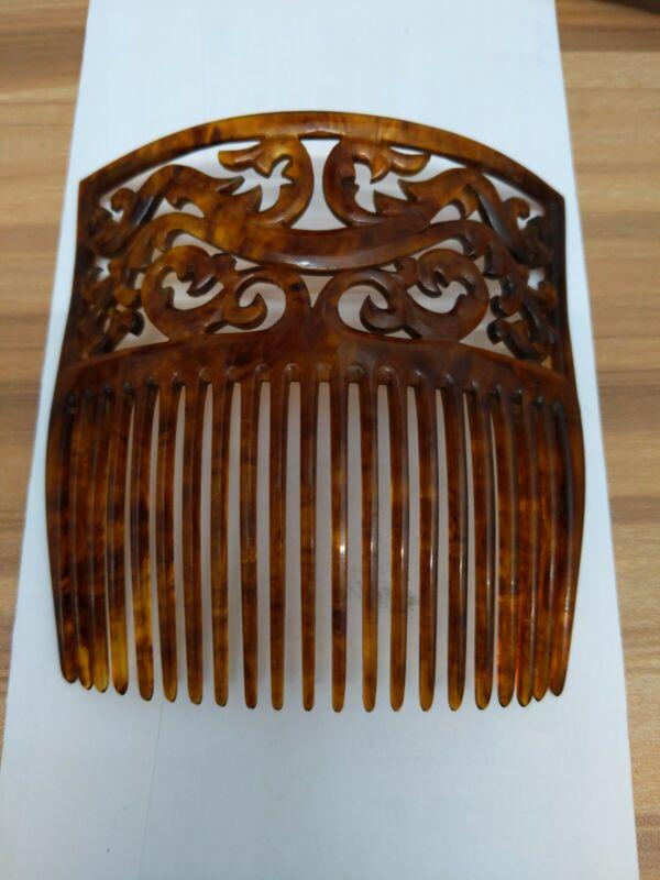 Elegant Antique Victorian Tortoise Shell Intricate Hair Comb