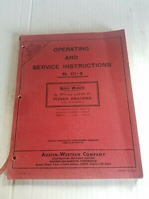 Austin Western Power Grader 471-d Operating And Service Instructions