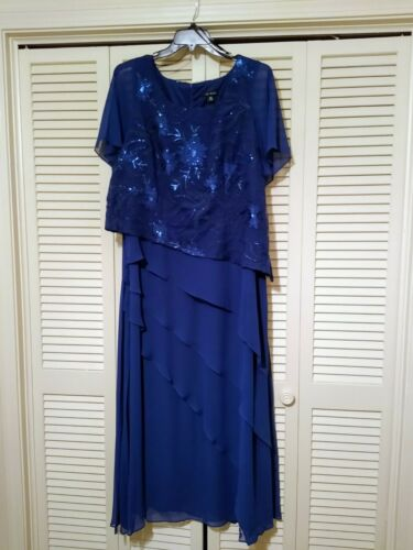 Le Bos Womens Plus 16W Embroidered Sequin Tiered Mother of Bride or Groom Dress