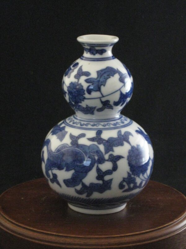 "Very Fine Porcelain Blue Cobalt Chinese Gourd 5"" Tall Vase"