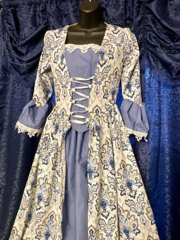 Colonial 18Th Century Williamsburg 1700S Outlander Rev War Polonaise Ballgown
