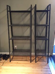 IKEA black metal shelves