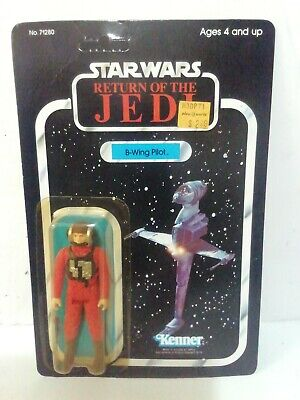 VINTAGE STAR WARS B-WING PILOT FIGURE CARDED 1984 UNPUNCHED ROTJ - very nice