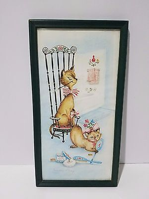 1950's Cat Couple Margery d'Arcy Lithograph Print Powder Room Vtg Framed Art