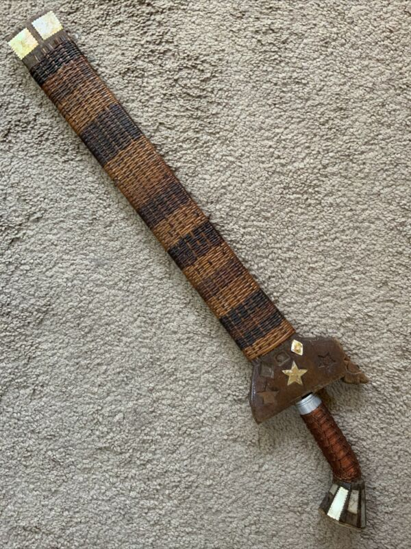 """Small Philippine Moro Kris w/16"""" Blade & Original Matched Scabbard MOP Inlay"""