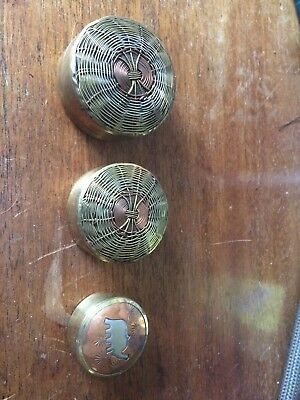 Set Of Three Brass And Copper Pill Boxes
