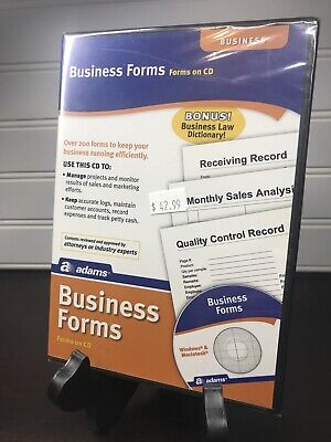 New Sealed Adams Business Forms Software Forms On Cd Sw2223