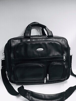 Samsonite Heritage Travel Corp. Black Leather Expandable Briefcase Laptop -
