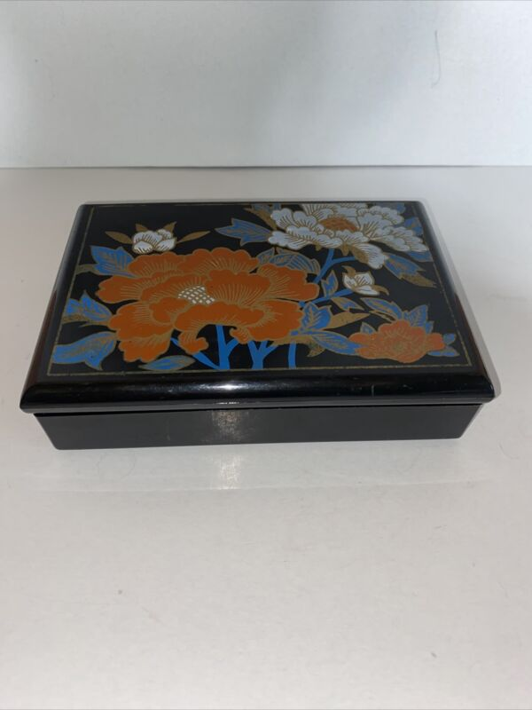 Vintage Japanese Plastic Lacquer Trinket Jewelry Box With Hinged Mirrored Lid