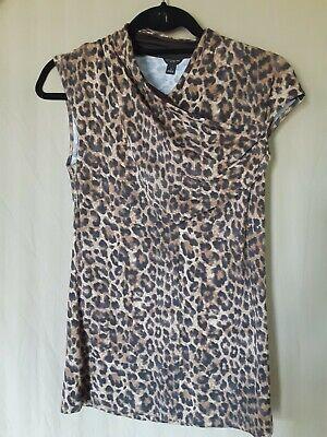 ANN TAYLOR LOFT Size S Animal Print Sleeveless Draped Stretch Tunic. Cute.