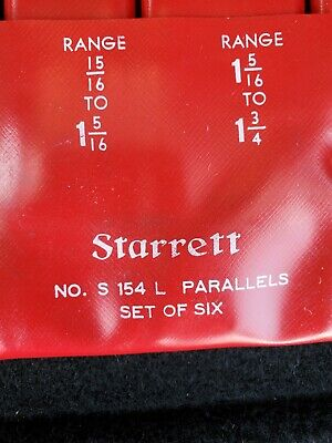 Starrett No. S154l S-154-l Adjustable Parallels Set Of Six Size 38 To 2-14