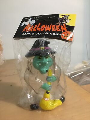 Vintage Witch Halloween Bank Blow Mold Skull