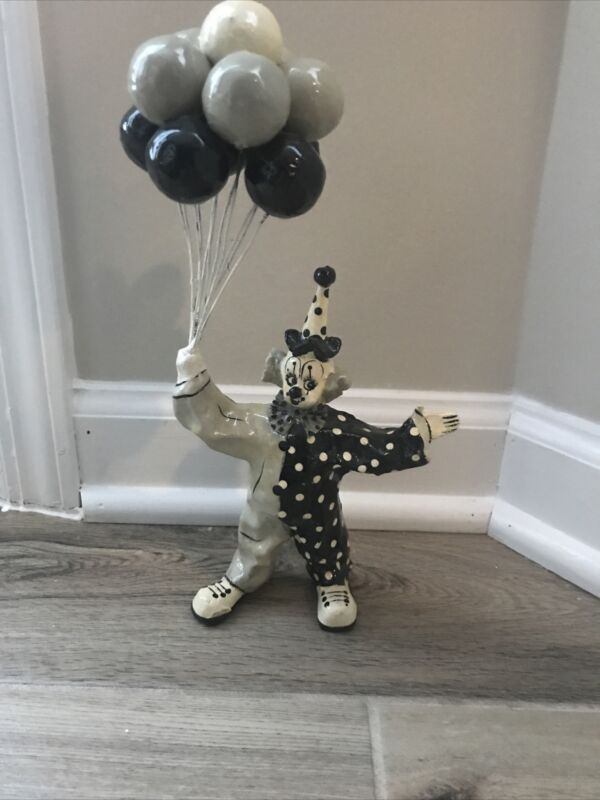 Vintage Paper Papier Mâché Clown Balloons Figurine Signed Gray Black White