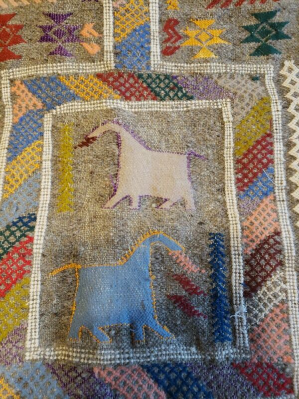 Rare Vintage Native American Navajo Woven Horses Wall Hanging Rug Tapestry