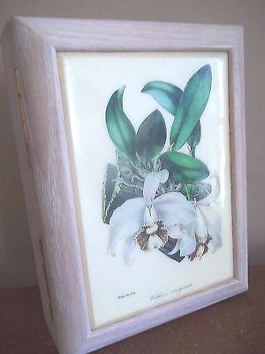 WHITE ORCHID flower CATTLEYA phal wood trinket MUSIC jewelry BOX storage GIFT