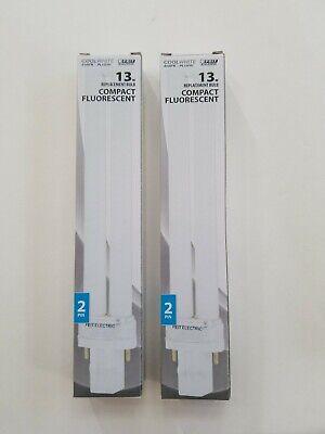 FEIT ELECTRIC COMPACT FLUORESCENT BULBS LIGHTS 13 WATT PL13 NEW SET LOT of 2
