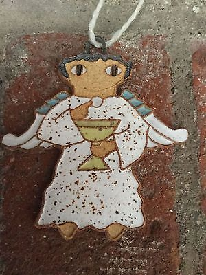 Lovely Handmade Clay Ornament Angel With The Sacrament Bread & Wine (Clay Angel Ornament)