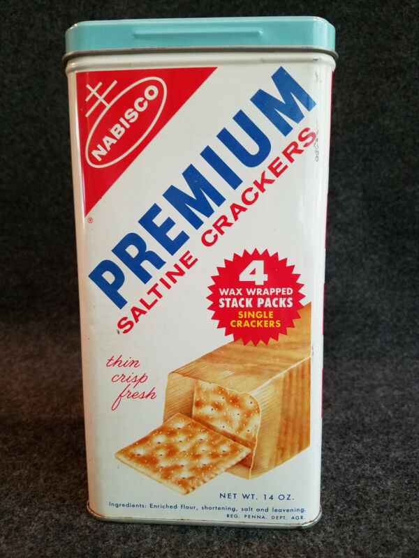 VINTAGE 1960s NABISCO PREMIUM SALTINE CRACKER TIN EXCELLENT CONDITION