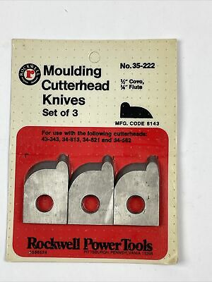 Rockwell Moulding Cutterhead Knives Set Of 3 No. 35-222 12 Covo 14 Flute