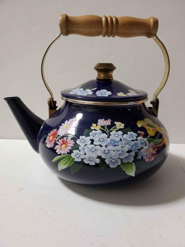 VG Gailstyn-Sutton Jardine Collection Porcelain Enamel Tea Pot Kettle Blue 1985